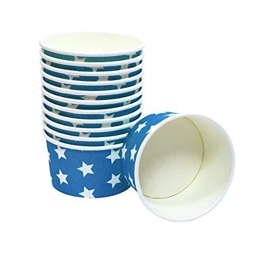 Frau WUNDERVoll® 60 Stück Pappschalen/Eisbecher/Einwegschalen BLAU MIT WEISSEN Sternen, für ca. 3-4 Kugeln EIS