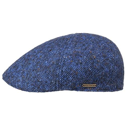 Stetson Texas Donegal Wool Flatcap Herren - Made in The EU - Gefütterte Schirmmütze aus Baumwolle - Schiebermütze aus Wolle - Melierte Tweed-Cap - Herbst/Winter blau-meliert XXL (62-63 cm)