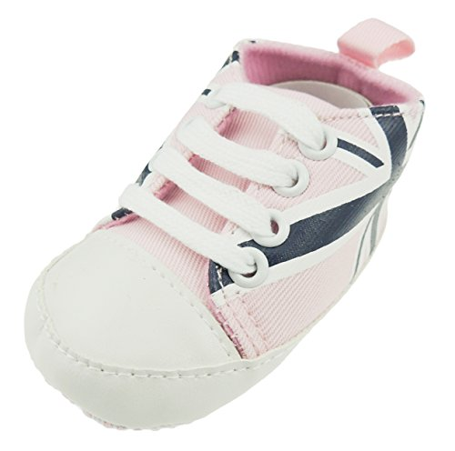 Glamour Girlz Cute Baby Boys Girls Lace Up Trainers Pram Shoes Block Colour Navy 11 0-3 Months