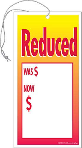 S05RDC Reduced was Now Elastic Knotted Price Sale Tags with Strings Merchandising Hang Tags Pack of 100 (1 7/8' x 3 5/8')