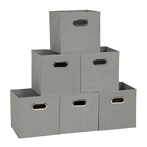 Household Essentials 84-1 Foldable Fabric Storage Bins | Set of 6 Cubby Cubes with Handles | Teafog, 6 lbs, Grey, 6 Count