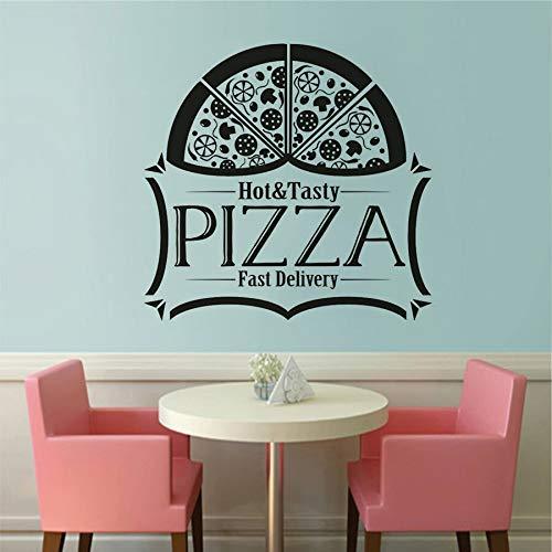 JXND Delicious Pizza Decalcomania da Muro in Vinile Pizzeria Negozio Logo Adesivo per finestre Pizza Logo Adesivo murale Poster Pizza Cibo Murale 68,4x66 cm