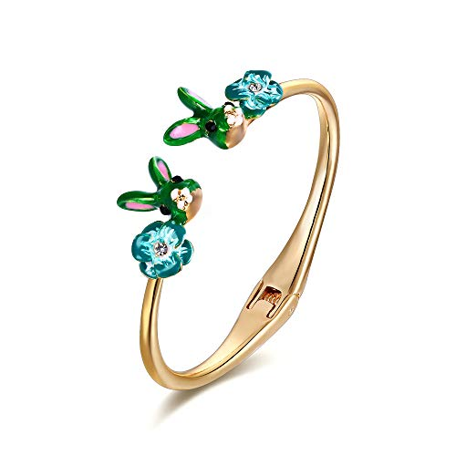 EVER FAITH Armreif Strass Kristall Emaille Zwei süße Kaninchen Tier Armband Grün Gold-Ton für Damen