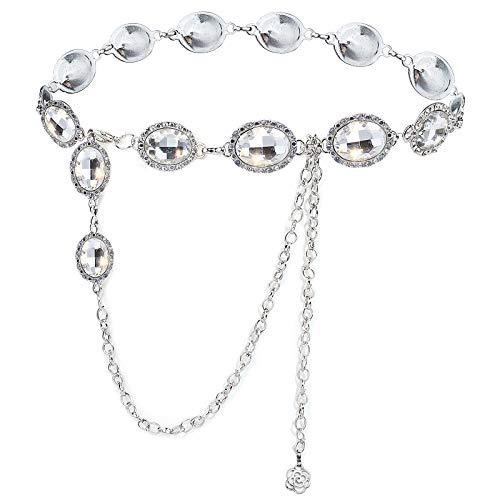 YooAi Cinturón De Cadena para Mujer Cintura De Metal Cadena De Cuerpo De Cristal Redondo para Vestido Plata 120cm