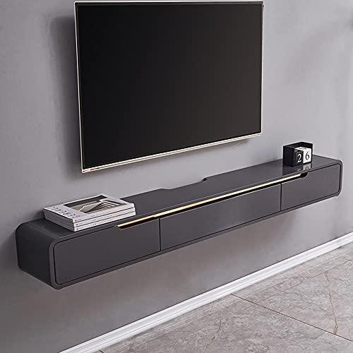 Mueble de TV flotante, mueble de TV montado en la pared, estante de decoración de la pared de la sala de estar, estante de almacenamiento multimedia moderno y de moda, que ahorra espacio/szary