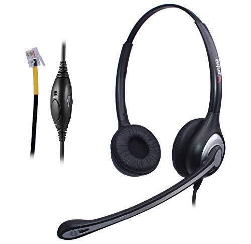 Auriculares Teléfono Fijo RJ9 Binaural, Micrófono con Cancelación de Ruido, WANTEK Cascos con Control de Volumen para Yealink Avaya Cisco Grandstream Snom Panasonic KXT Teléfonos IP(F602Y1)