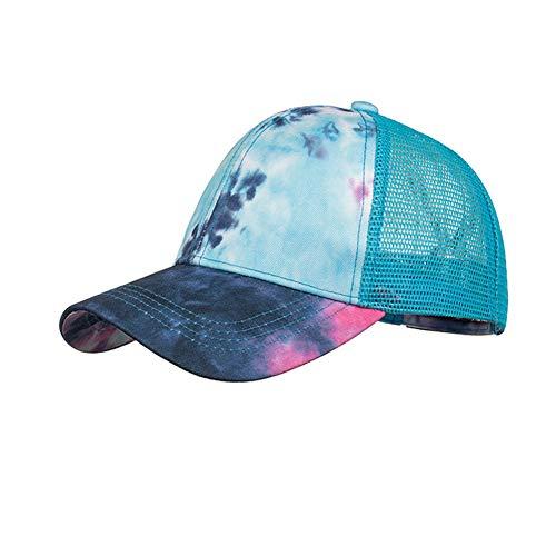 XPuing Damen Baseballkappe, Batikdesign, Polo-Stil, klassisch, Sport, Freizeit, Laufen, Baumwolle, Netz, verstellbar, Blau / Schwarz