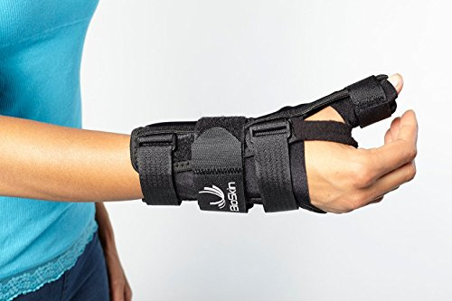 Wrist Brace with Thumb Stabilizer - Support for De Quervains, Sprains, Arthritis, and Bursitis Pain - Lightweight, Hypoallergenic Wrist/Thumb Spica by BioSkin (Medium-Large (Right))