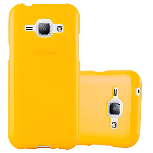 Preisvergleich Produktbild Cadorabo Hülle für Samsung Galaxy J1 2015 (5) - Hülle in Jelly GELB Handyhülle aus TPU Silikon im Jelly Design - Silikonhülle Schutzhülle Ultra Slim Soft Back Cover Case Bumper