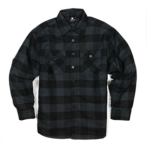 YAGO Men's Quilted Lined Long Sleeve Flannel Plaid Button Down Shirt YG2611 (Dark Gray/Black, 3X-Large)