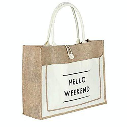 Bolso de playa Hello Weekend o a rayas azules Beach Bag yute tela Boho Ibiza Formentera Playa Brillabenny (blanco clásico)