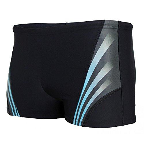 Aquarti Herren Kurze Badehose mit Streifen, Farbe: Schwarz/Blau, Größe: 6XL
