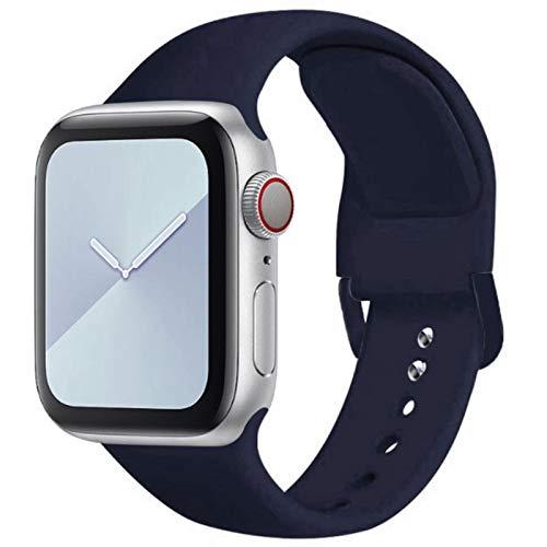 Correa de silicona suave para Apple Watch Series SE 6 5 4 3 2 1 40MM 44MM 38MM 42MM Correa de caucho para reloj-09 Azul medianoche, 42 mm o 44 mm SM