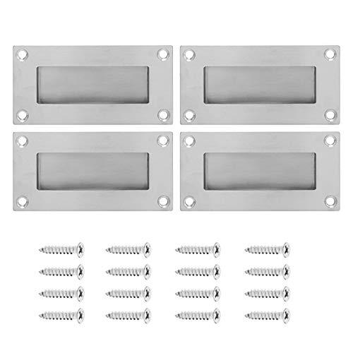 4 tiradores rectangulares de acero empotrados, ocultos, para puerta de armario, cajón, puerta de armario, tirador oculto, tirador de puerta corredera, para instalación oculta (plata)
