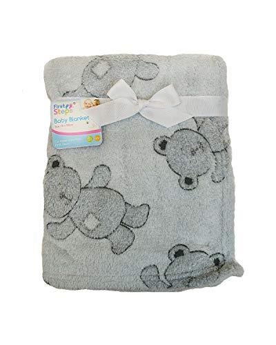 Coperta in pile super morbida per neonati, con orsacchiotto grigio, 75 x 100 cm