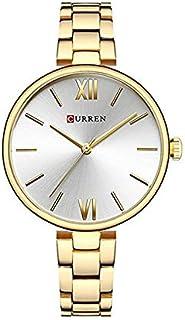 Curren 9017 Stainless Steel Strap Round Analog Waterproof Gold, White Watch for Women