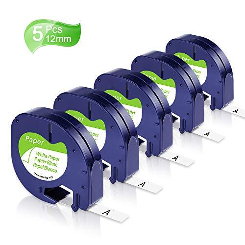 Unistar Kompatibel Etikettenband als Ersatz für Dymo Letratag 12mm x 4m Papier 91220 91200 S0721520 schwarz auf weiß Etikettenband für Dymo LetraTag LT-100H LT-100T LT-110T, 5er-Packung