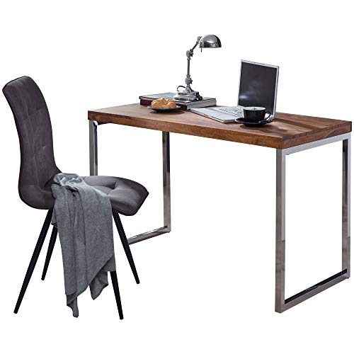 FineBuy Schreibtisch Sheesham Massivholz | Computertisch 120 x 60 cm aus echtem Holz | Laptoptisch im Landhaus-Stil | Konsolen-Tisch mit Metallbeinen | Arbeitstisch dunkel-braun für Büro