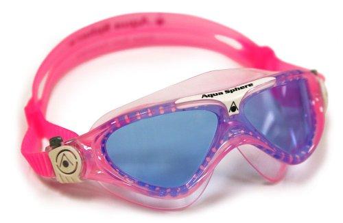 Aqua Sphere Schwimmbrille Vista Kinder Taucherbrille Blaue Gläser, Rosa/Weiß, One Size