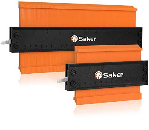 Saker Contour Gauge Contour Duplication Gauge avec serrure en Aluminium Épaissi (Version mise à jour) - Copie précise du duplicateur de forme irrégulière - (12CM+25CM)