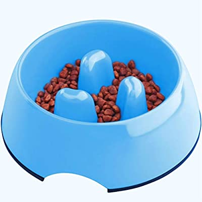 Super Design Anti-Gulping Dog Bowl Slow Feeder, Interactive Bloat Stop Pet Bowl for Fast Eaters 2.5 Cup Blue