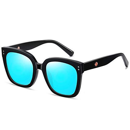 Gosunfly Visera de sol gafas de sol polarizadas de cara grande gafas de sol cuadradas de moda hombres-marco negro película azul hielo
