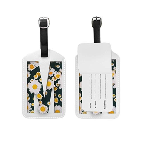 Daisy 3D Flower Alphabet Letter M Leather Travel Luggage Tags Funny Personalized PU Suitcase Label with ID Card Holder 1 Pieces Set