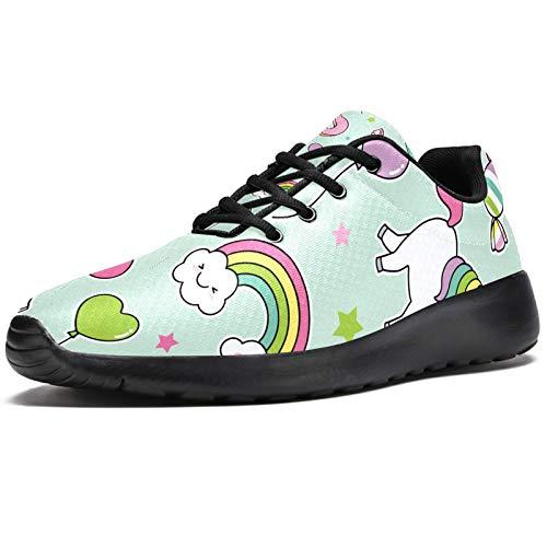 Zapatillas deportivas para correr para mujer, diseño de unicornio, postre globo, de malla, transpirables, para caminar, senderismo, tenis, color, talla 39 EU