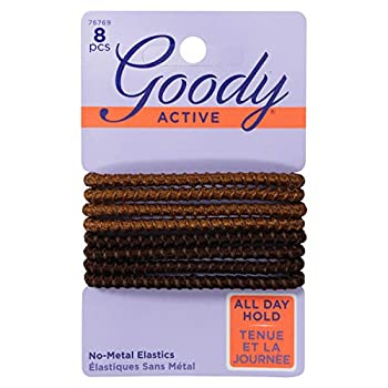 Goody Elastics Colour Collection Sparkly Metallic Hair Elastic Stay Put Hold Brunette 3-Pack  24 Total Hair Elastic Ties
