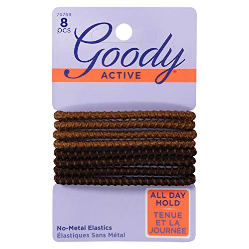 Goody Elastics Colour Collection Sparkly Metallic Hair Elastic, Stay Put Hold, Brunette, 3-Pack (24 Total Hair Elastic Ties)