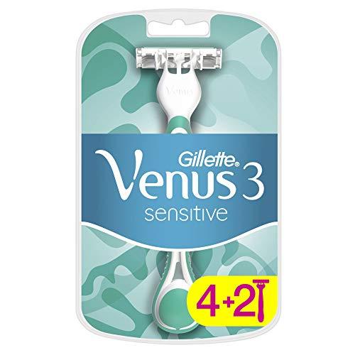 Gillette Venus3 Sensitive Einwegrasierer für Damen, X4 + 2, 6 Stück