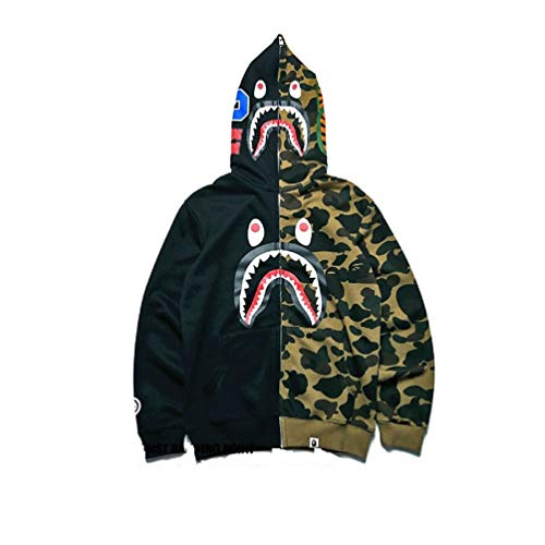 UOREHM Bape Ape Shark Camo Men Women Hoodie Fashion Casual Teenage Adult Sweater Full Zipper Jacket UC1-blackgreenS