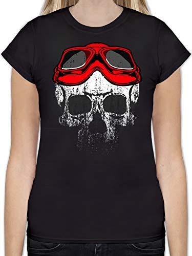 Biker - Roter Motorradhelm Totenkopf - L - Schwarz - Shirt Totenkopf Damen - L191 - Das Beste Frauen Shirt von #RedSkullBikerFashion
