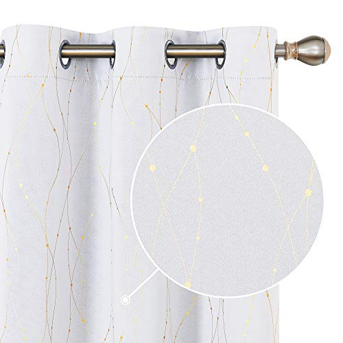 Deconovo Light Blocking Thermal Insulated Blackout Curtains Gold Foil Printed Wave Line with Dots Grommet Window Drapes for Bedroom 42 x 72 Inch Greyish White 2 Panels
