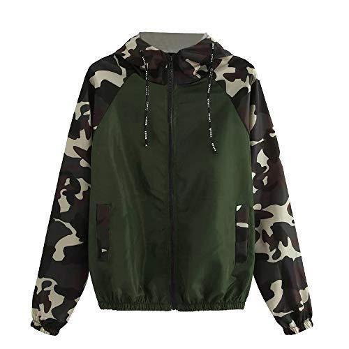 Herfst Winter Jassen voor dames, jas voor vrouwen, Womens lange mouwen Camouflage Patchwork O hals Sweatshirt met capuchon Overcoat Blouse(Army Green, S)