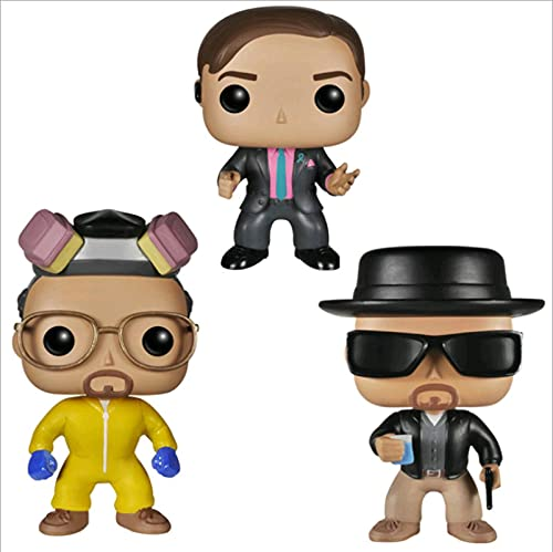 3 Piezas Pop Breaking Bad Heisenberg Saul Goodman Walter Blanco # 160 # 162 # 163 con Caja Figura De Acción Juguetes Colección Modelo De Juguete para Niños