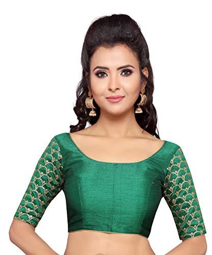 Studio Shringaar Women's Poly Raw Silk Embroidered Saree Blouse (Green, 34)