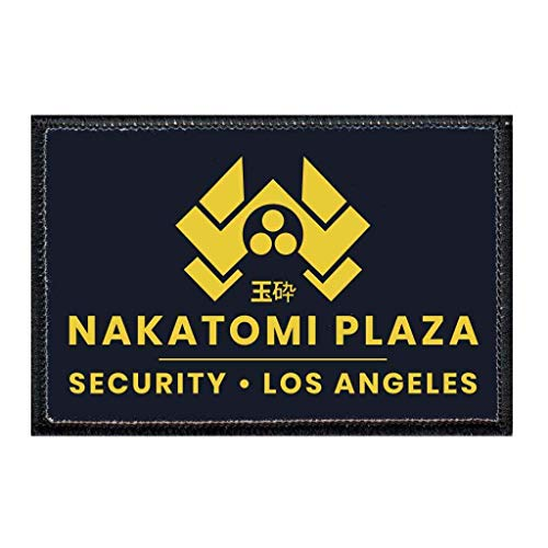 Nakatomi Plaza - Security - Black Morale Patch   Hook and Loop Attach for Hats, Jeans, Vest, Coat   2x3 in   by Pull Patch