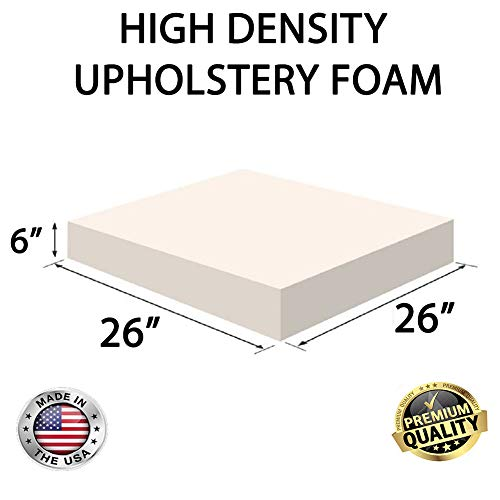 FoamRush 6' H x 26' W x 26' L Upholstery Foam Cushion High Density (Chair Cushion Square Foam for Dinning Chairs, Wheelchair Seat Cushion Replacement)