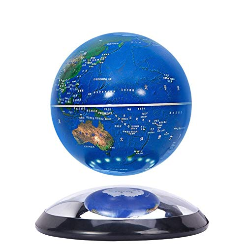 Espejo levitación magnética Globo de 6 pulgadas de regalo de cumpleaños Oficina Crafts Decoración de la sala de estudio Bola del globo del mundo de la tierra Mapa de rota (Color : Blue)