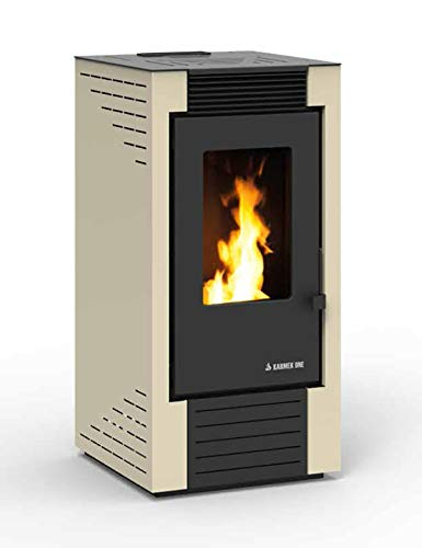 Karmek One Lisboa - Estufa de pellets de 8,21 kW de aire ventilado, acero, color beige