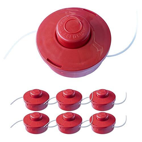 Nemaxx 6X FS2 Cabezal de Doble Hilo semiautomático - Cabezal de Corte de siega -Accesorios de Corte - Hilo de Nylon - Carrete para desbrozadora Gasolina - Rojo