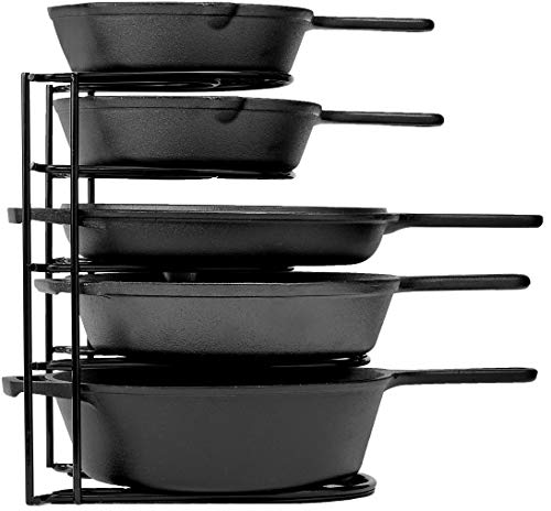 Heavy Duty Pan Organizer, 5 Tier Rack - Holds up to 50 LB - Holds Cast Iron Skillets, Griddles and Shallow Pots - Durable Steel Construction - Space...