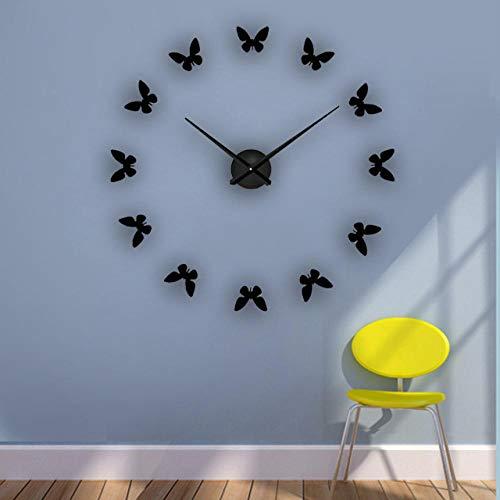 FPRW Acryl Muurstickers Klok, Grote 3D Sticker Stilleven Wandklok, Vlinder Poster Diy Home Decor, 47 Inch Zwart