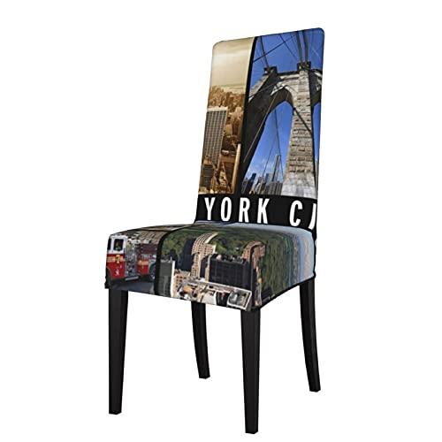 Fundas para silla de Nueva York Central Park Liberty Brooklyn Bridge elásticas, supercomedor. Funda protectora para asiento de silla, fundas de asiento desmontables