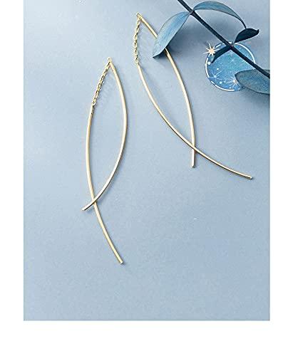 LOKILOKI Pendientes Colgantes De Línea Geométrica De Moda para Mujer Auténtica Plata De Ley 925 Pendiente De Gota De Cadena Larga Joyería Fina