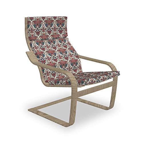 ABAKUHAUS Paisley Poäng Sessel Polster, Oriental Persisch, Sitzkissen mit Stuhlkissen mit Hakenschlaufe und Reißverschluss, Getrocknete Rose Mauve