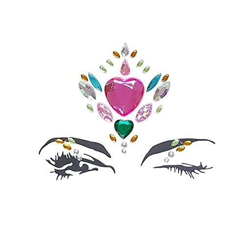 Wovemster Facial Ensemble de Bijoux de Pierres précieuses - Mascarade Facial Decoration DIY Bijoux Diamond Face Sticker - Décoration pour Les Yeux Front Diamond Diamond Dinner Party