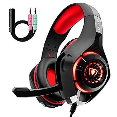 Gaming Headset for PS4 Xbox One, Comfort Noise Reduction Crystal Clarity 3.5mm LED Professional Headphone with Mic for PC Laptop Tablet Mac Smart Phone by Beexcellent