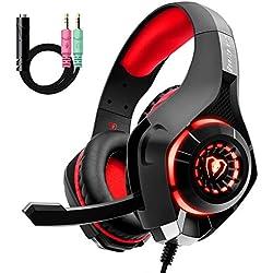 Cuffie Gaming con Microfono e Bass Stereo, Cancellazione del Rumore, Controllo del Volume per PS4 PS5 Xbox One PC Mac, Colore Rosso